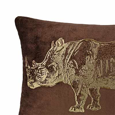 sumatran rhino foil cushion cover