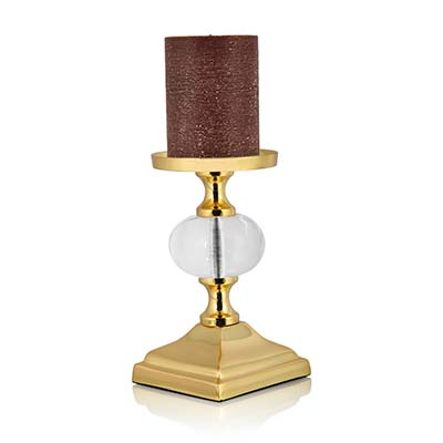 The Crystal Clear Gold Candle Holder