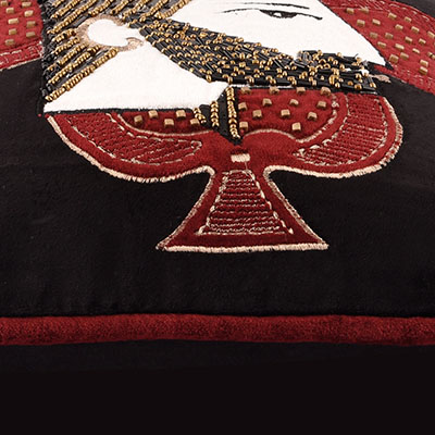 KING OF SPADES BLACK VELVET CUSHION COVER