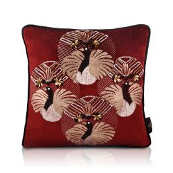 flapper bling ruby red velvet cushion cover