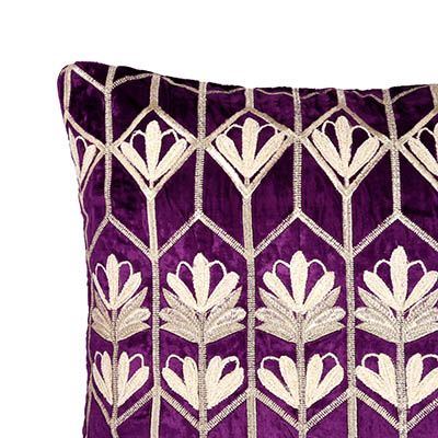 Stoclet Deep Purple Velvet Cushion Cover