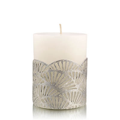 jali pillar candle silver small