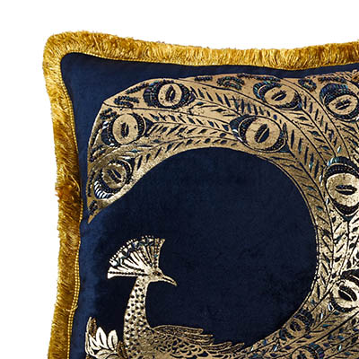 Paon Midnight Blue Velvet Fringe Cushion
