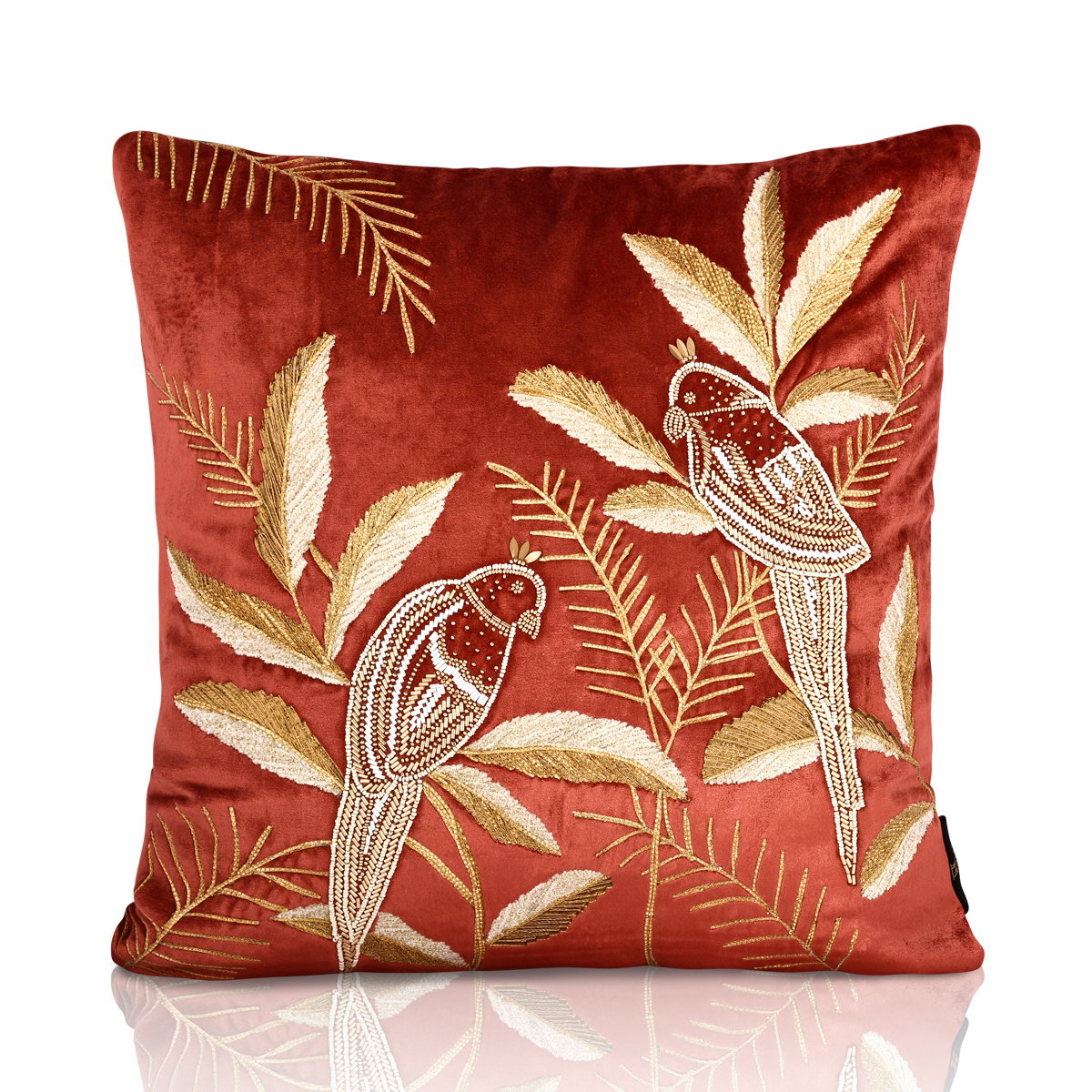 paroquet paradise velvet cushion cover